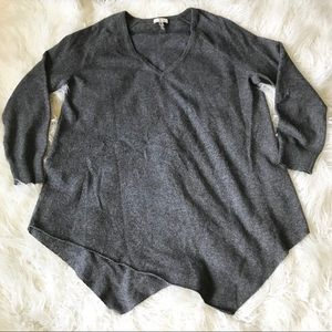 Joie Gray oversize V-neck knit sweater